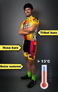 Fahrradbekleidung über 13 Grad