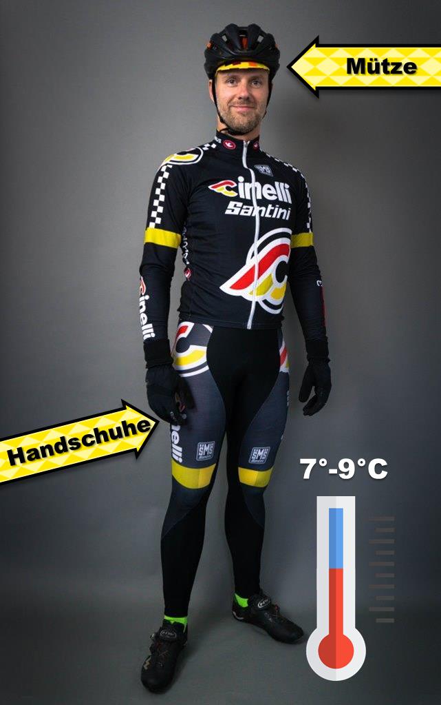 Fahrradbekleidung 7 bis 9 Grad