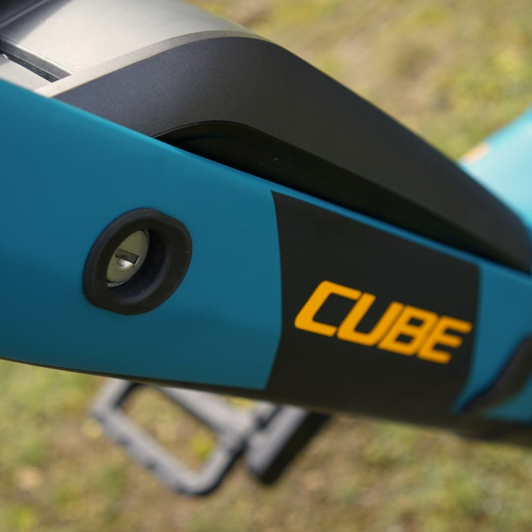 Cube Reaction Hybrid Pro 500 Akku und Schloss Detail
