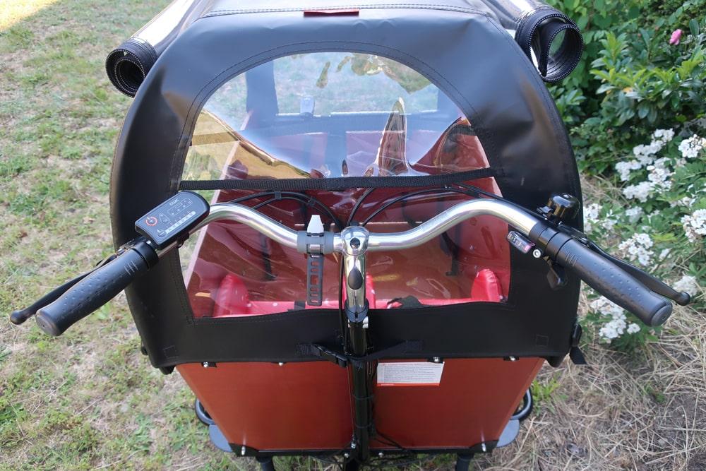 Elektro-Lastenrad - Lenker mit Motorsteuerung - Babboe Big-E Qwic - Testbericht Lucky Bike Radlbauer