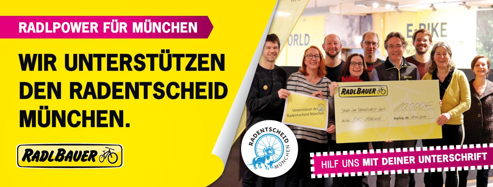 Radlbauer unterstützt den Radentscheid München - Unterschriftensammlung ab sofort in allen Radlbauerfilialen