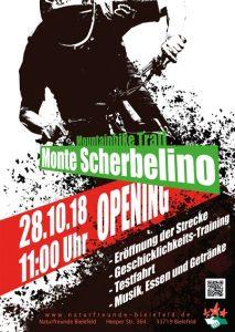 Plakat zur Eröffnung des MOnte Scherbelino in Bielefeld - Lucky Bike unterstützt die Initiatoren