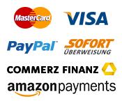 MasterCard, Visa, Paypal, Sofortüberweisung, Commerz Finanz