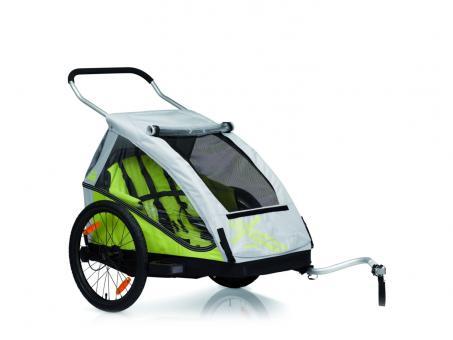 XLC Duo2 Fahrrad-Kinder-Anhänger limone