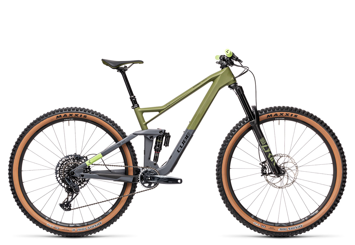Mountainbikes Cube Stereo 150 C:62 Race 29 2021 | 22 Zoll | olive´n´grey | 29 Zoll