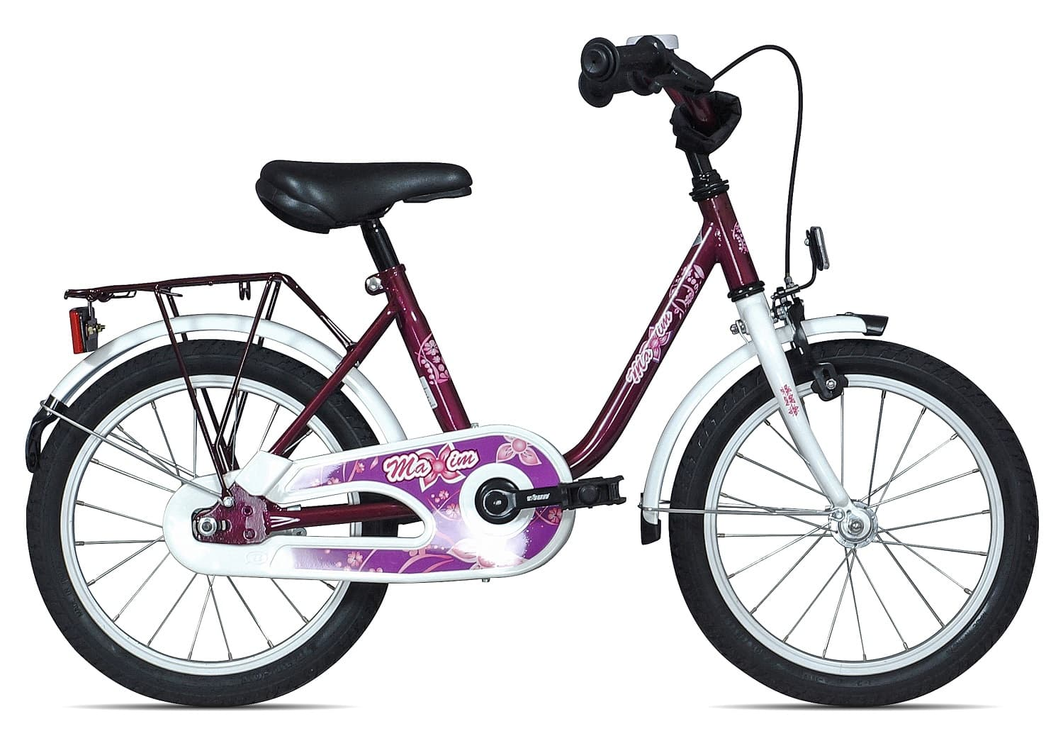 maxim kinderfahrrad 16 zoll 27 cm lila wei jetzt. Black Bedroom Furniture Sets. Home Design Ideas